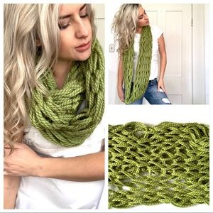 Accessories - Spring Green Hand Thick Knit Infinity Scarf Cozy